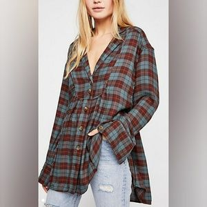 """""""C"""" free people plaid buttondown v neck relaxed"""